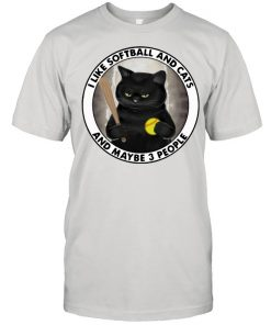 I Like Softball And Cats And MAybe 3 People Cat Shirt Classic Men's T-shirt