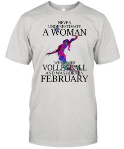 Never Underestimate A Woman Who Loves Volleyball And Was Born In February Watercolor Shirt Classic Men's T-shirt