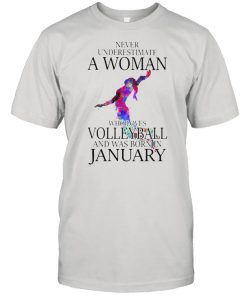 Never Underestimate A Woman Who Loves Volleyball And Was Born In January Watercolor Shirt Classic Men's T-shirt